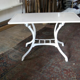 2 Bistro tables with vitrolite tops white glass