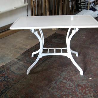 2 Bistro tables with vitrolite tops white glass