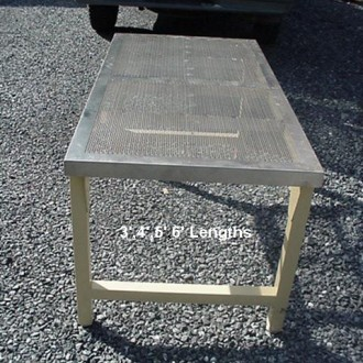 Perforated stainless tables