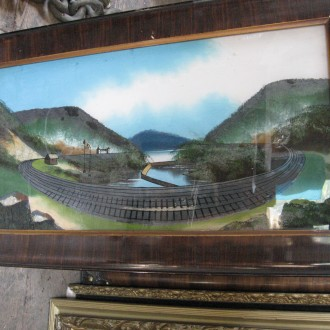 Collection of reverse glass paintings of Altoona horseshoe curve