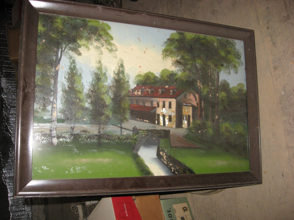 3 Reverse glass paintings of water powered mill Image