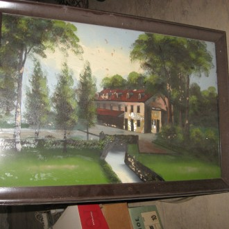 3 Reverse glass paintings of water powered mill