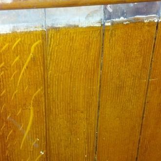 Grain painted bead board wainscotting
