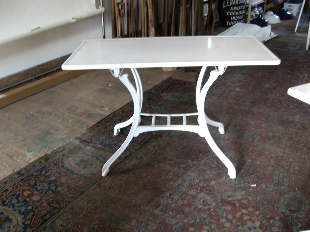 2 Bistro tables with vitrolite tops white glass Image